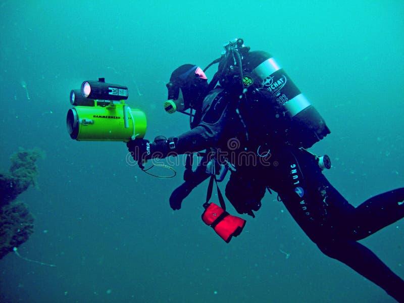 Mergulhador, mergulho profundo fotografia de stock royalty free