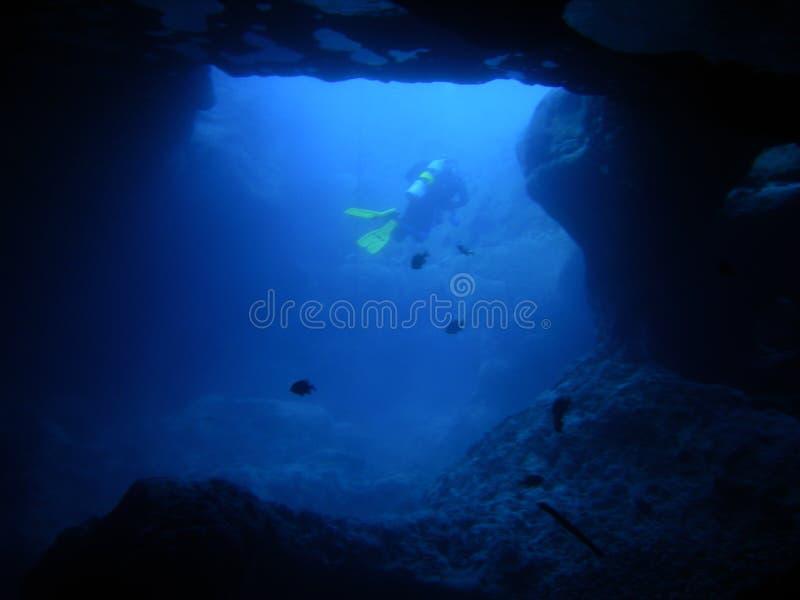 Mergulhador na boca imagem de stock