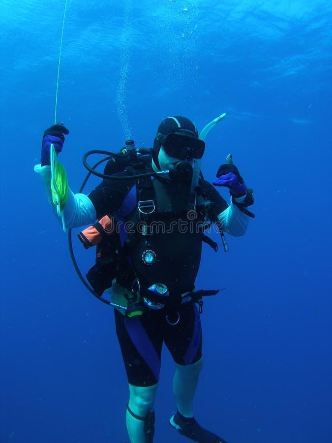 Mergulhador no batente da segurança fotografia de stock