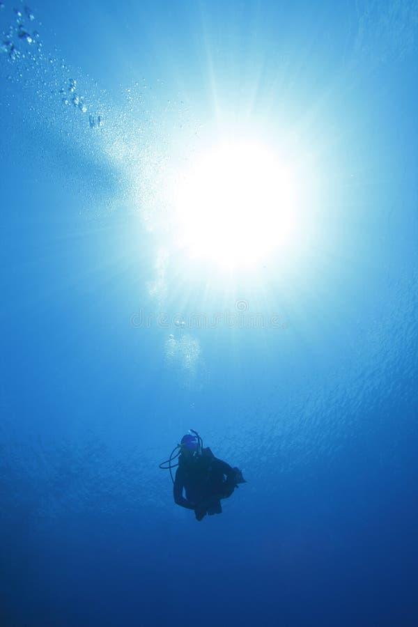 Mergulhador que desce com o sol que incandesce atrás fotos de stock