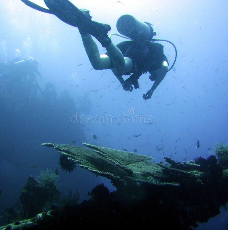 Mergulhador que explora o navio destruído imagem de stock royalty free