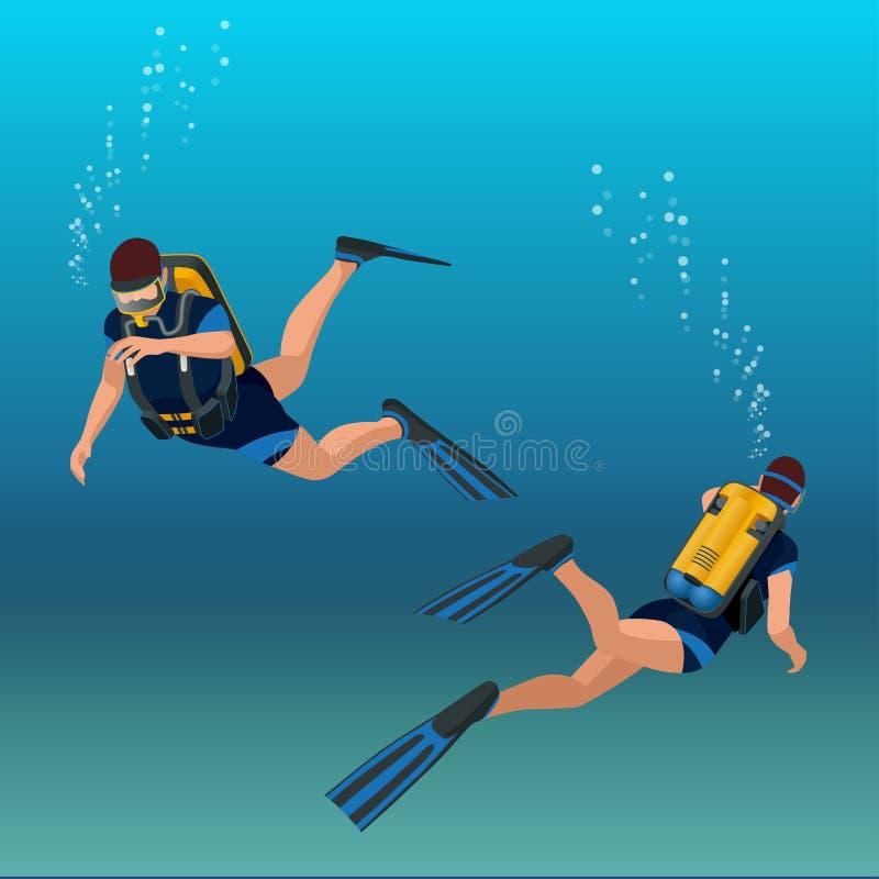Mergulhador subaquático dos povos da ilustração isométrica do diverflat do mergulhador ilustração stock