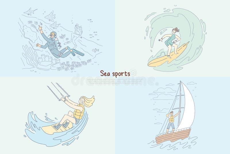 Mergulhador subaquático, onda da equitação do surfista, kitesurfing da mulher do boardsport unida para saltar de paraquedas, nave ilustração royalty free