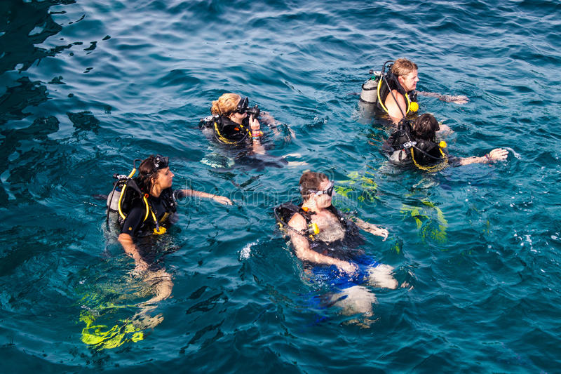 Mergulhadores de mergulhador em Ko Tao fotografia de stock royalty free