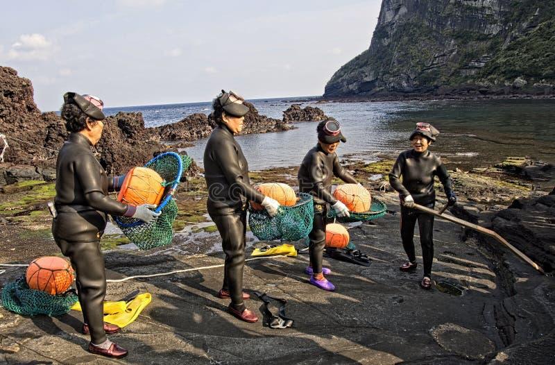 Mergulhadores fêmeas tradicionais da pesca de Haenyeo fotos de stock royalty free
