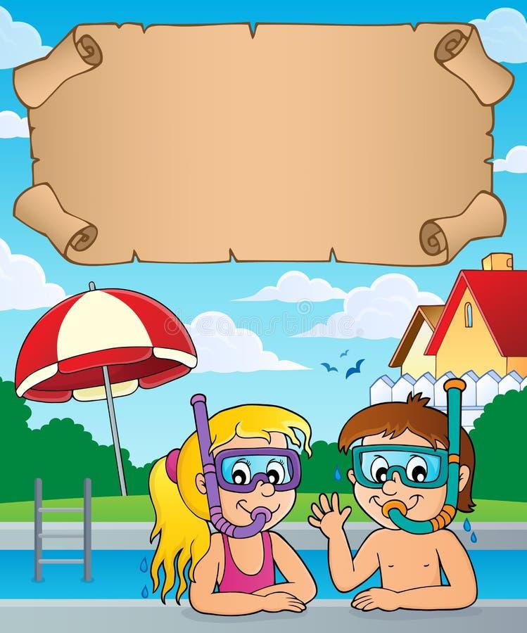 Mergulhadores pequenos do tubo de respiração do pergaminho e das crianças ilustração stock