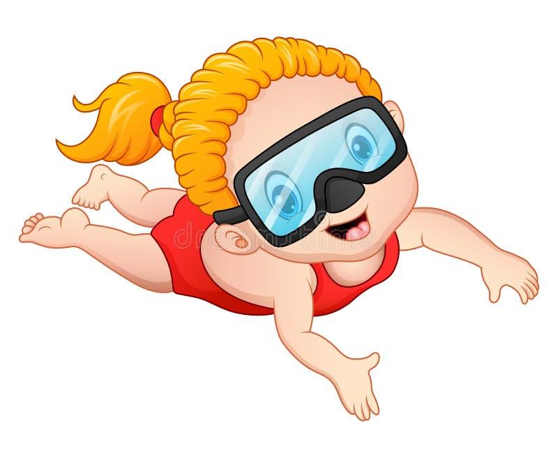 Mergulhando desenhos animados da menina ilustração do vetor