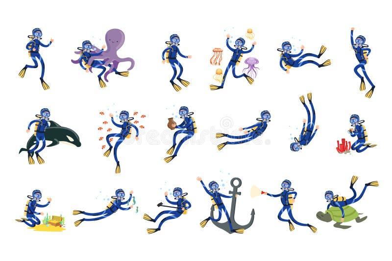 Mergulhando e mergulhando o grupo, o mergulhador na natação subaquática no tubo de respiração da máscara e as aletas vector ilust ilustração do vetor