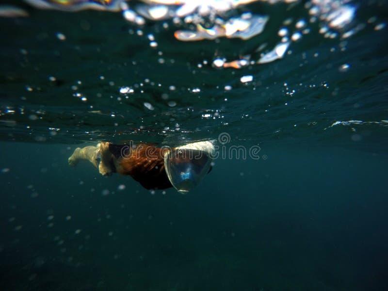 Mergulhando a mulher debaixo d'água no mar escuro Tubo de respiração na máscara protetora completa imagens de stock royalty free