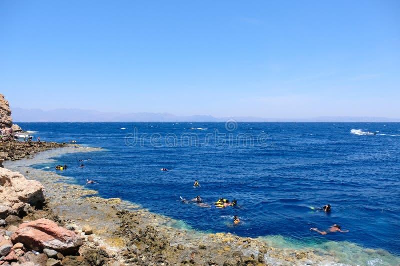 Mergulhando na costa azul do furo, Mar Vermelho em Sinai fotos de stock