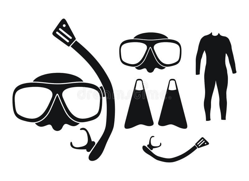 Mergulhando o equipamento - silhueta ilustração stock