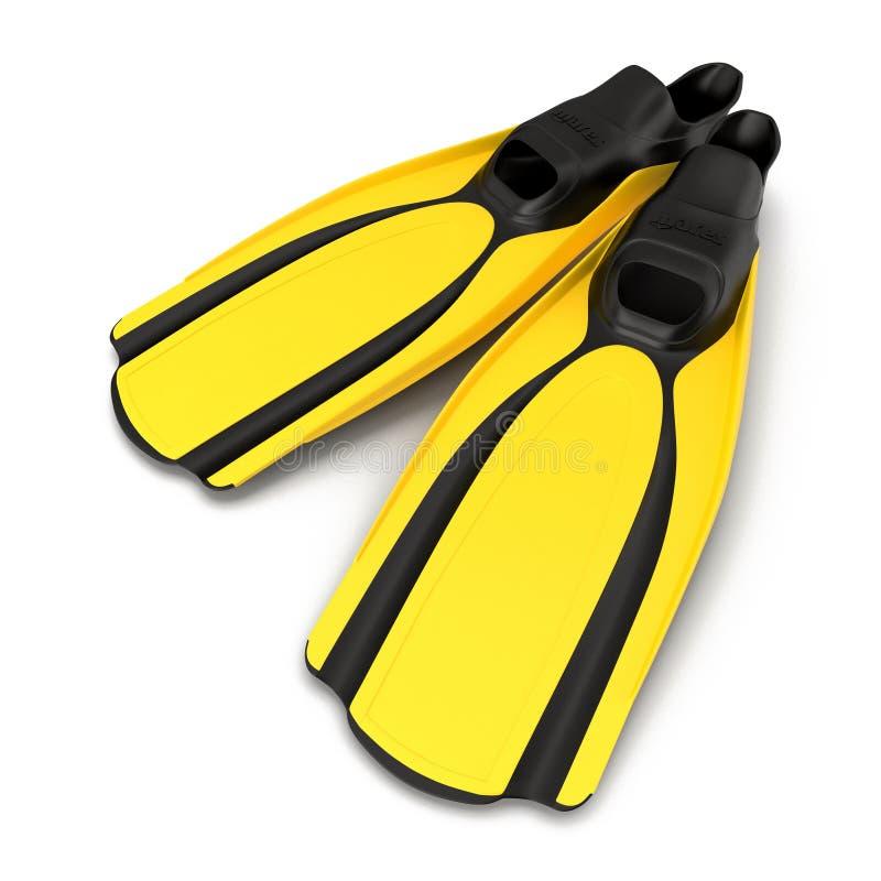 Mergulhando ou aletas ou aletas do mergulhador isoladas na ilustração 3D branca ilustração royalty free