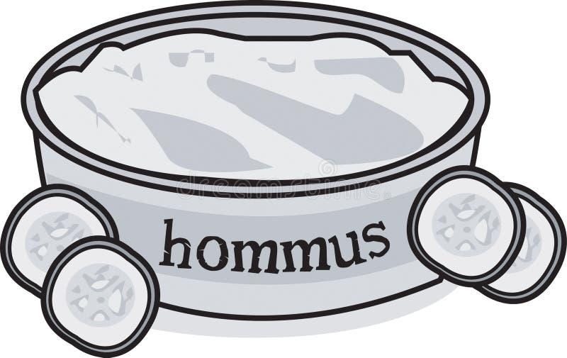 Mergulho & pepino de Hommus ilustração do vetor