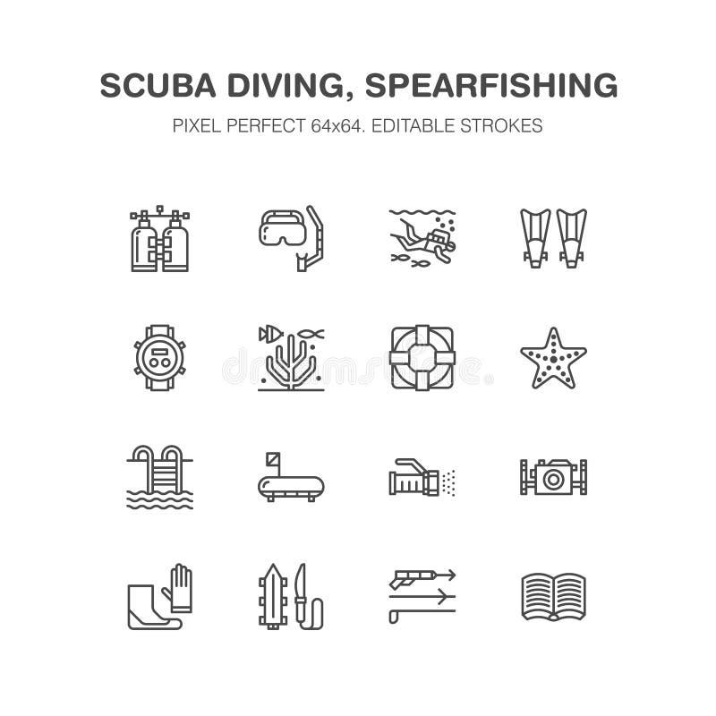 Mergulho autônomo, mergulhando a linha ícones Equipamento de Spearfishing - mascare o tubo, aletas, terno de nadada, mergulhador  ilustração do vetor