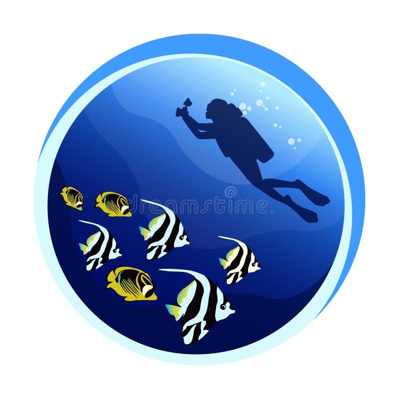 Mergulho autônomo com peixes exóticos ilustração stock