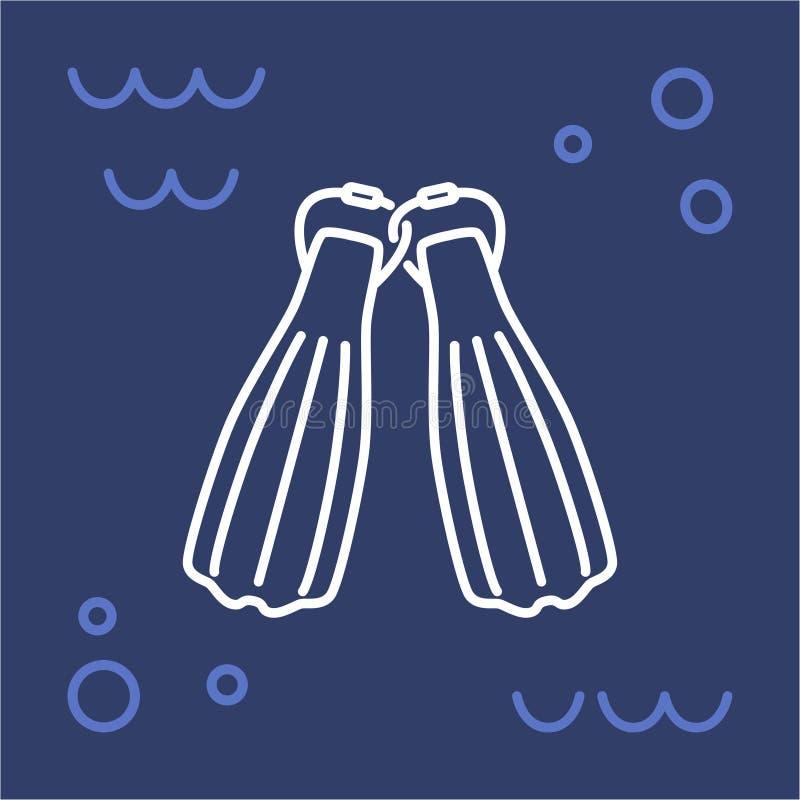 Mergulho autônomo das aletas do ícone ilustração do vetor