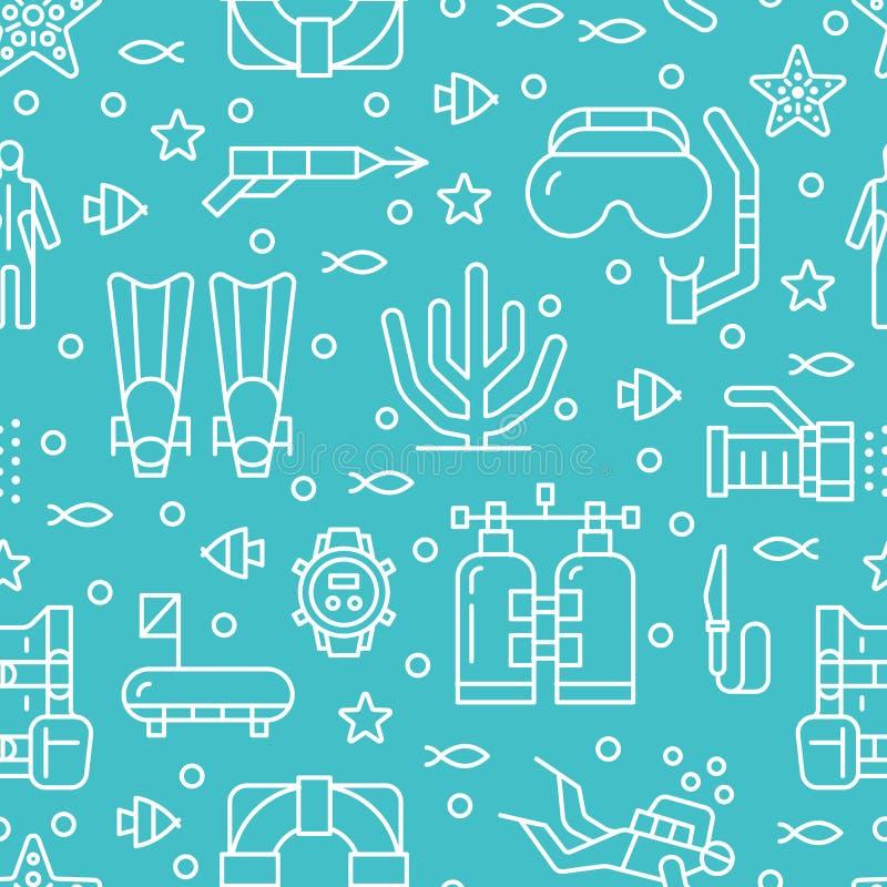 Mergulho autônomo, mergulhando o teste padrão sem emenda, fundo do azul do vetor do esporte de água Papel de parede repetido boni ilustração royalty free