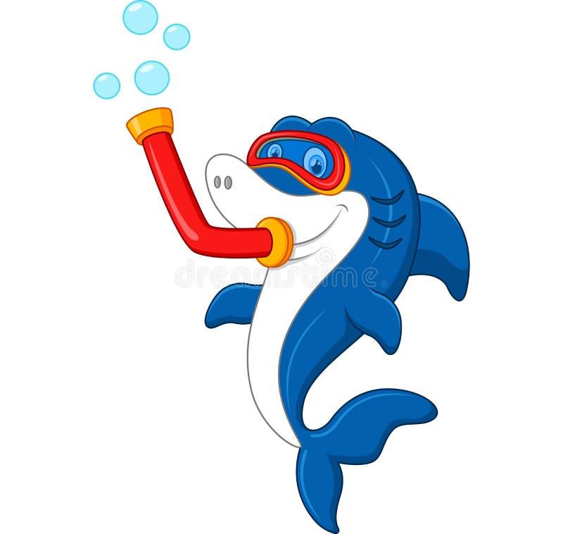Mergulho da máscara do ataque do tubarão ilustração stock