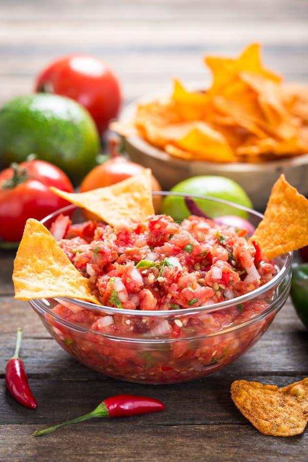 Mergulho da salsa com microplaqueta de tortilha foto de stock royalty free