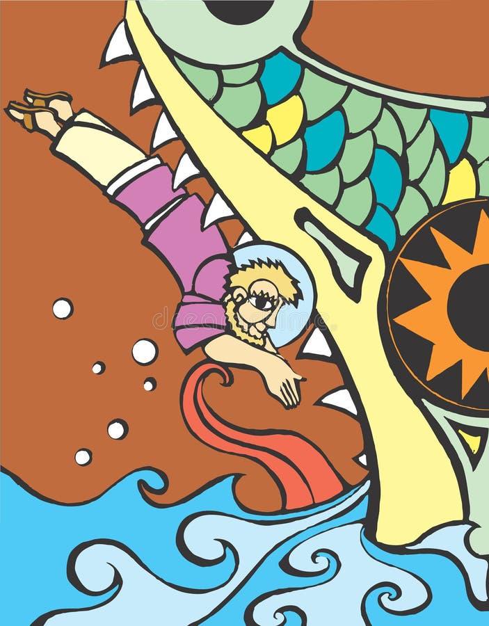 Mergulho de Jonah ilustração do vetor