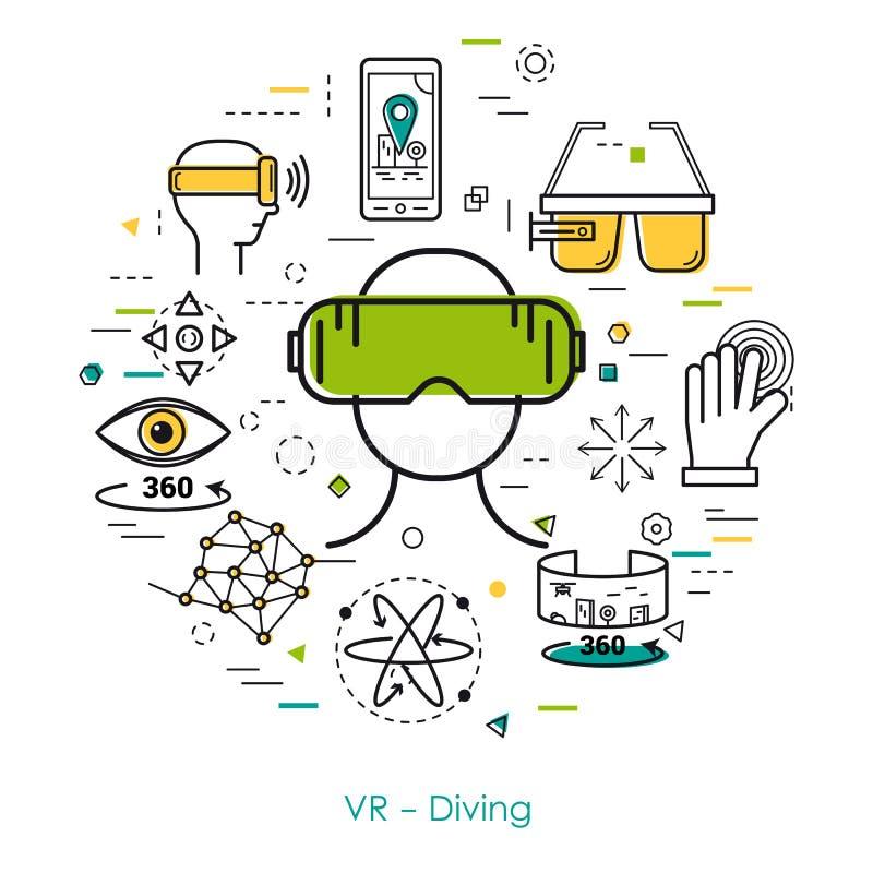 Mergulho de VR - linha arte ilustração do vetor