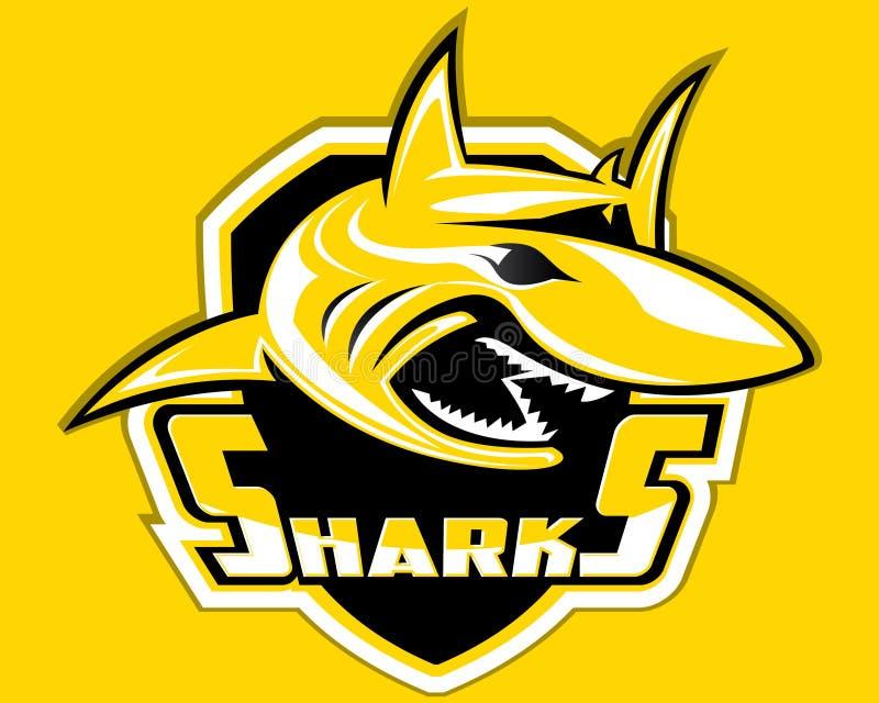 Mergulho do emblema do esporte de Logo Vetora Mascot Aquatic Predator do esporte do protetor do tubarão ilustração royalty free