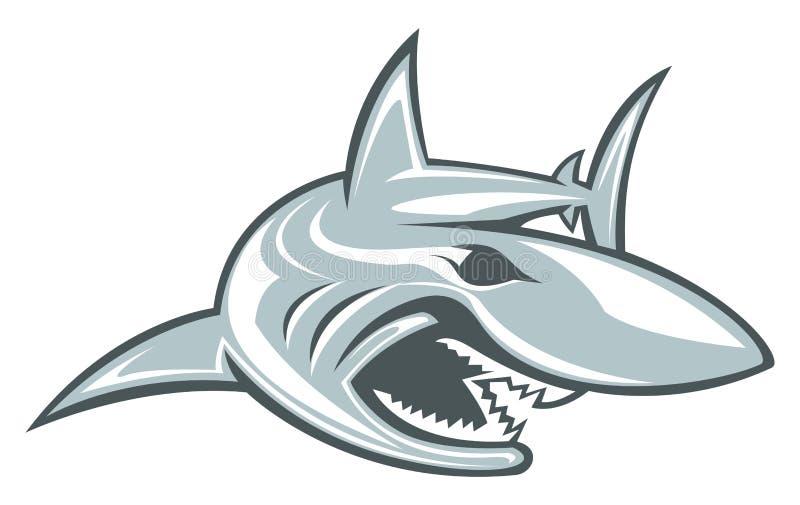 Mergulho do emblema do esporte de Logo Vetora Mascot Aquatic Predator do esporte do tubarão ilustração royalty free