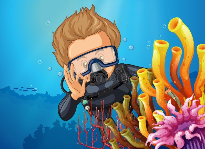 Mergulho do mergulhador de mergulhador atrás do recife de corais ilustração royalty free