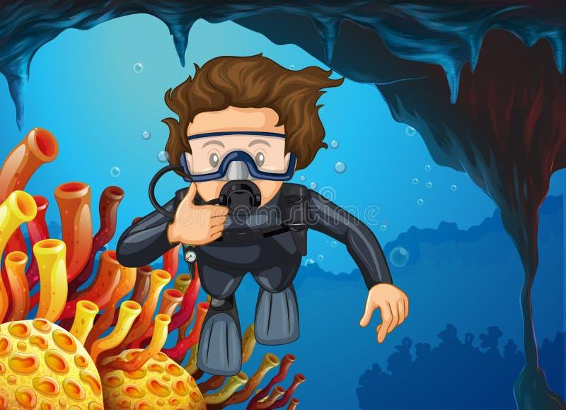 Mergulho do mergulhador de mergulhador sob o oceano ilustração royalty free
