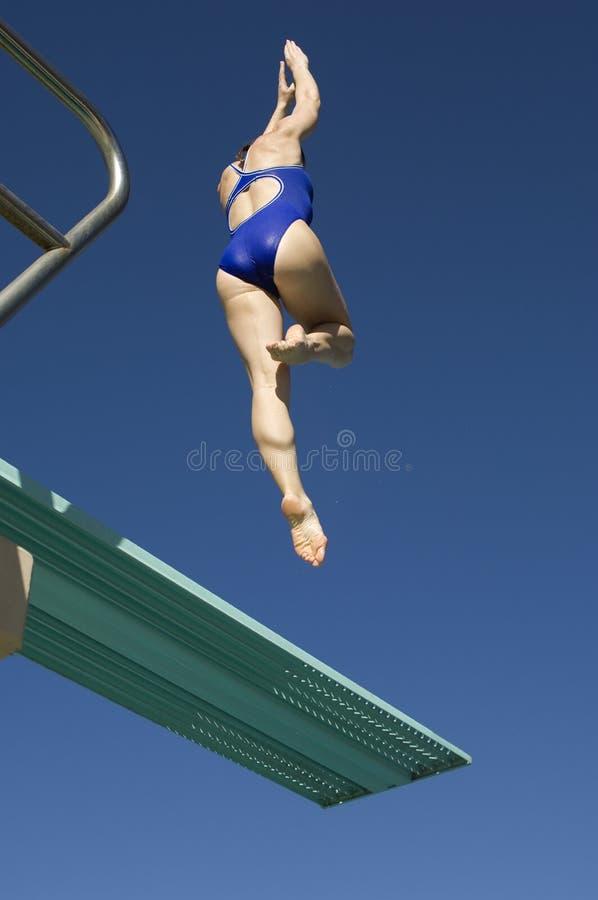 Mergulho do nadador do trampolim foto de stock royalty free