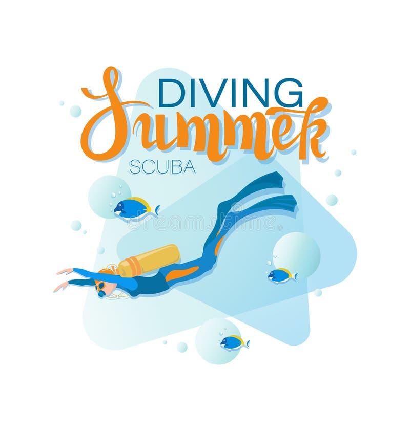 MERGULHO DO VERÃO Mergulhador de mergulhador da menina e peixes tropicais ilustração do vetor