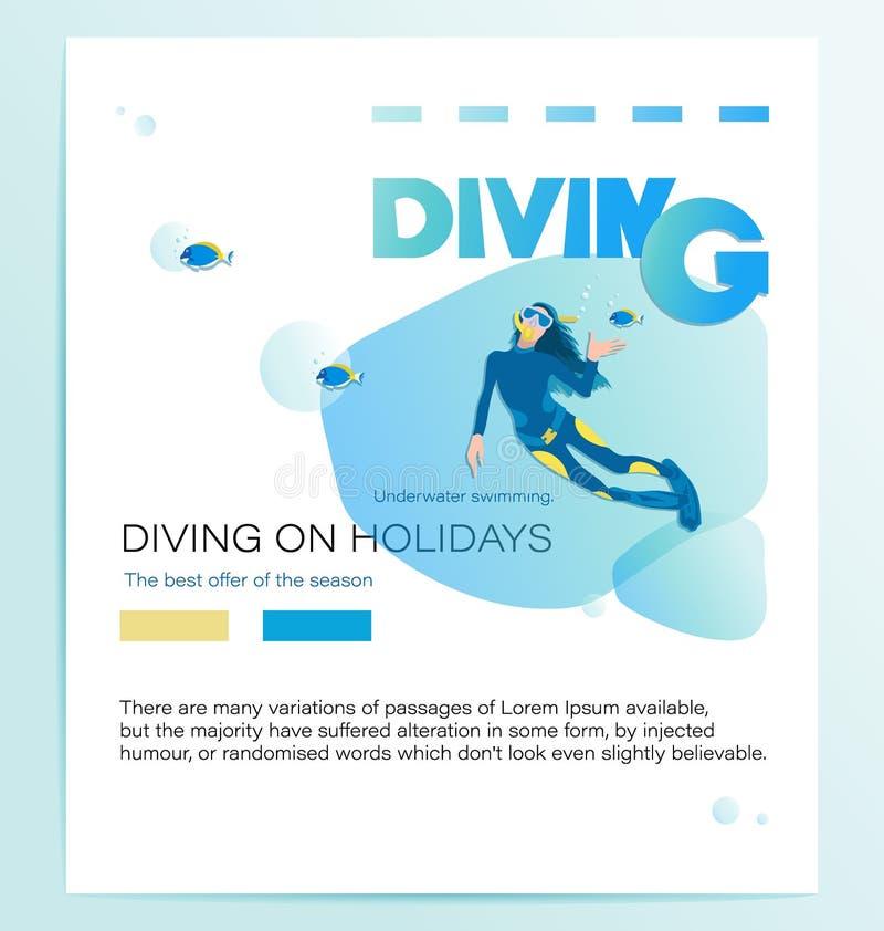 MERGULHO EM FERIADOS Mergulhador de mergulhador da menina e peixes tropicais ilustração do vetor