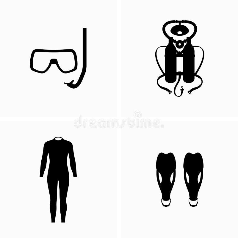Mergulho, equipamento do mergulhador, roupa de mergulho e aletas ilustração stock