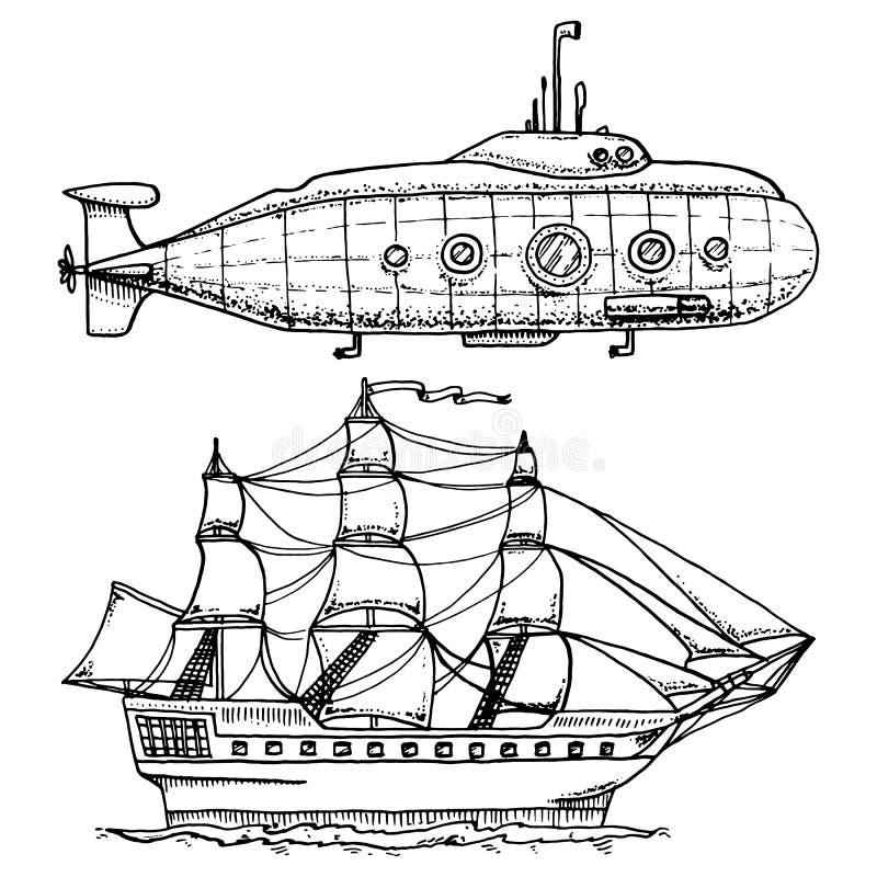 Mergulhos do submarino militar ou do barco subaquático com o periscópio ao mar profundo navio de cruzeiros ou ilustração do velei ilustração do vetor