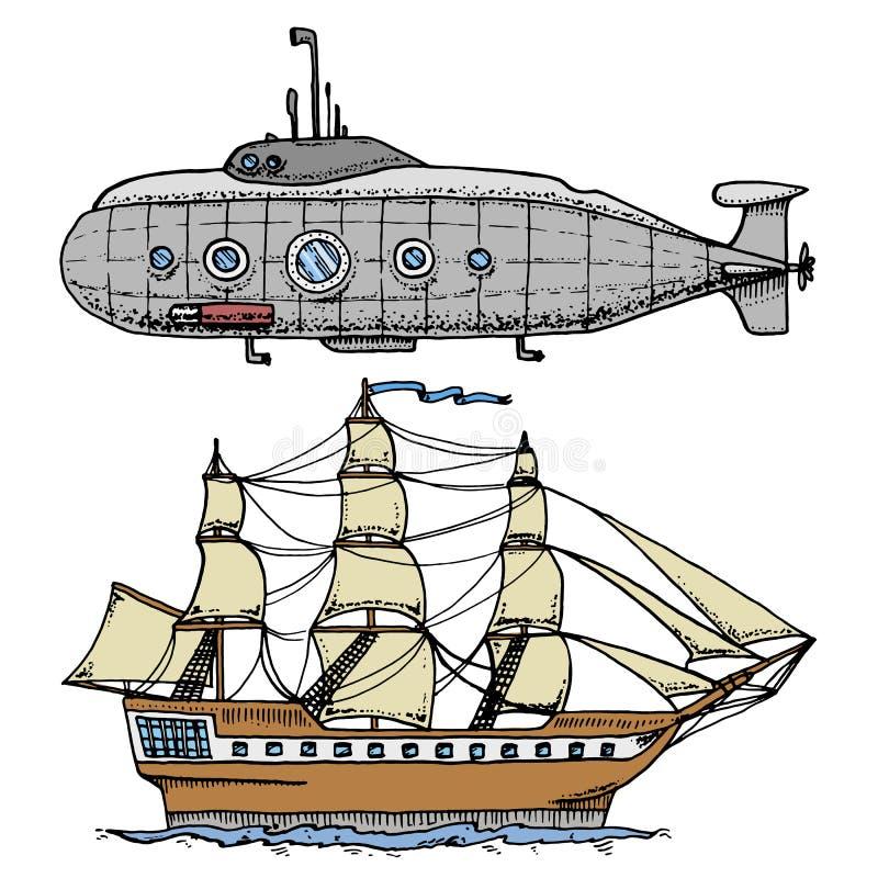 Mergulhos do submarino militar ou do barco subaquático com o periscópio ao mar profundo navio de cruzeiros ou ilustração do velei ilustração royalty free