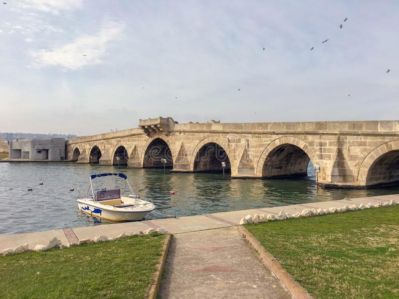The Meriç River and the bridge in Edirne. Mimar Sinan Bridge. The Ottoman bridge over the river Meriç. The Kanuni Sultan Suleiman bridge also known as B royalty free stock photos