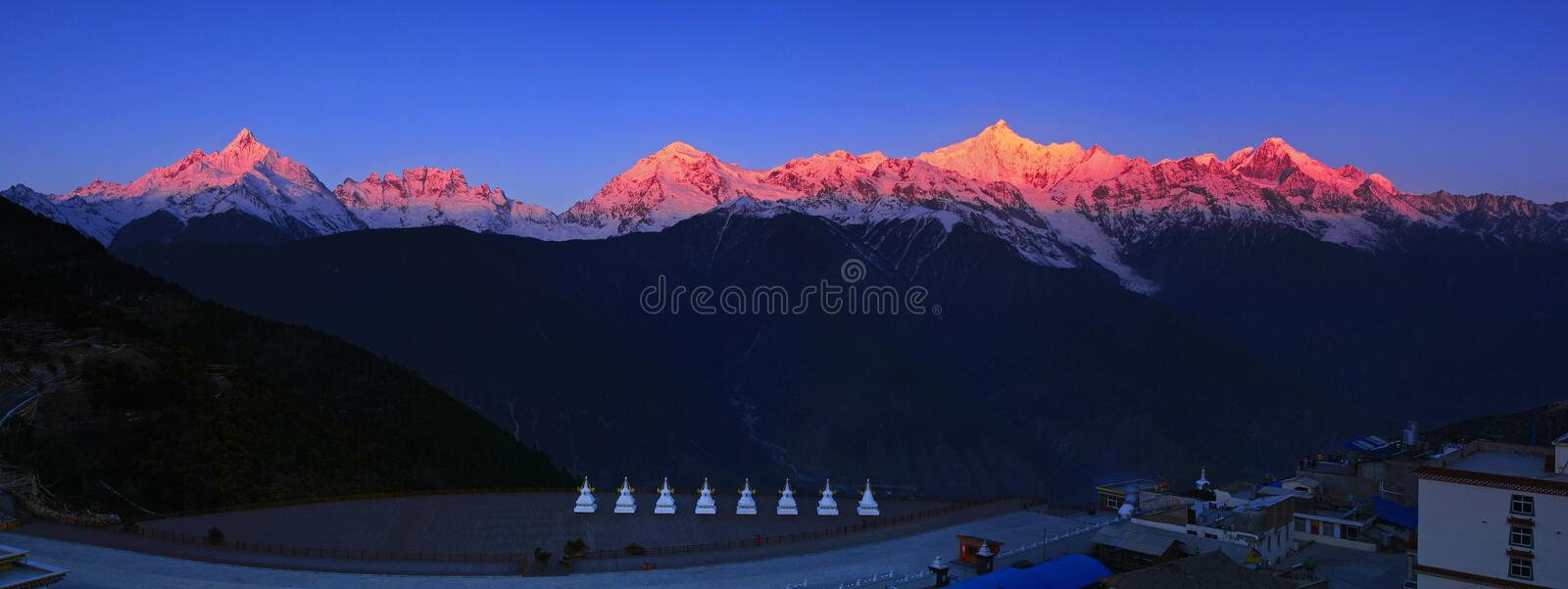 Meri Snow Mountain. Meili snow mountain is also called the snow prince, deqin county is located in the diqing Tibetan autonomous prefecture, yunnan province royalty free stock image