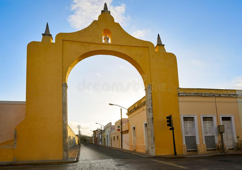 Merida Arch and Quarter of Dragons Yucatan. Merida Arch and Quarter of Dragons dragones in Yucatan Mexico stock image