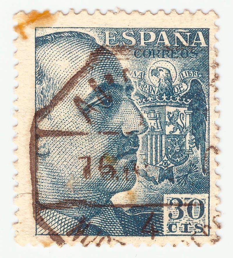 MERIDA, EXTREMADURA, ESPAGNE; DIC, 01, 2 018 - Cachet montrant un portrait du général Francisco Franco 1892-1975 CIRCA 1949 photo stock