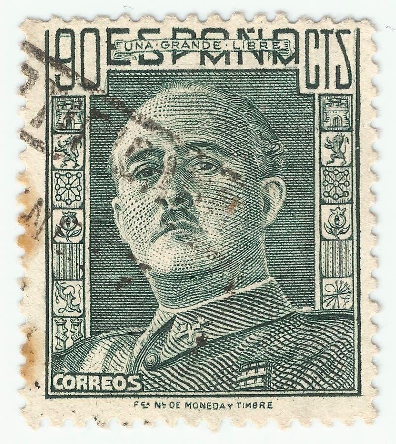 MERIDA, EXTREMADURA, ESPAGNE; DIC, 01, 2 018 - Cachet montrant un portrait du général Francisco Franco 1892-1975 CIRCA 1949 image stock