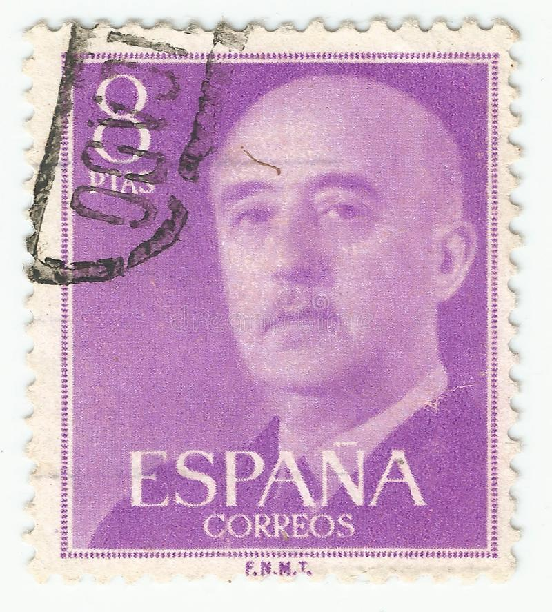 MERIDA, EXTREMADURA, SPAIN;  DIC, 01, 2.018 - Stamp showing a portrait of General Francisco Franco 1892-1975. CIRCA 1949 stock image