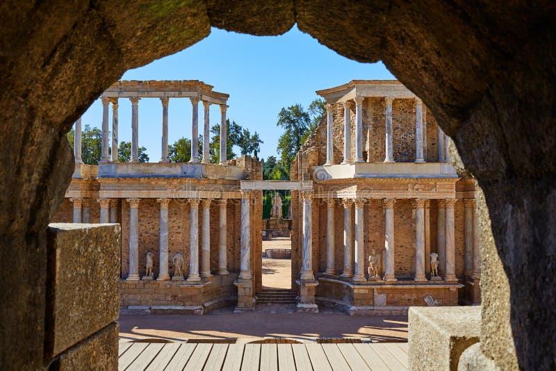 Merida i Badajoz den romerska amfiteatern Spanien arkivbilder