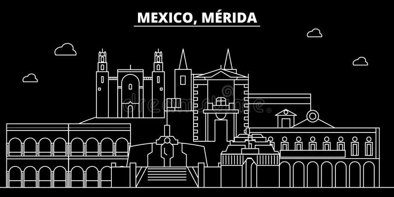 Merida konturhorisont Mexico - Merida vektorstad, mexikansk linjär arkitektur, byggnader Merida linje lopp royaltyfri illustrationer