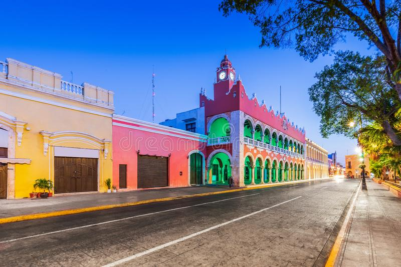 Merida, Mexico. City hall in the Old Town royalty free stock image