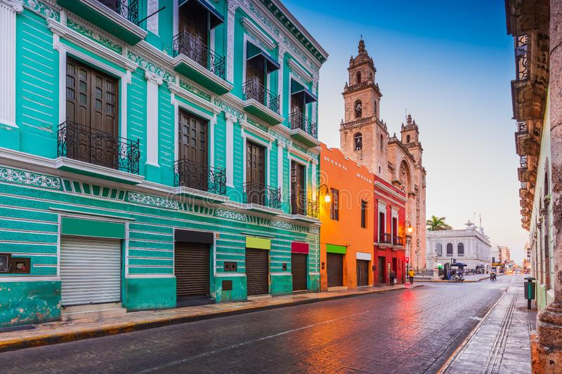 Merida, Mexico. San Idefonso cathedral in the Old Town stock photography