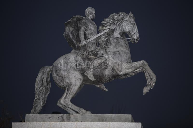 Equestrian statue of Marcus Vipsanius Agrippa, promoter of The t royalty free stock photo