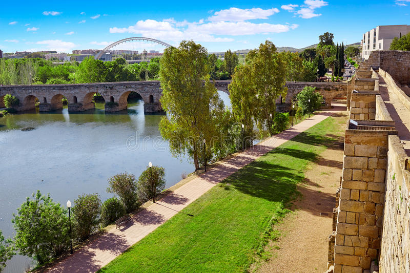 Merida in Spain roman bridge over Guadiana stock photos