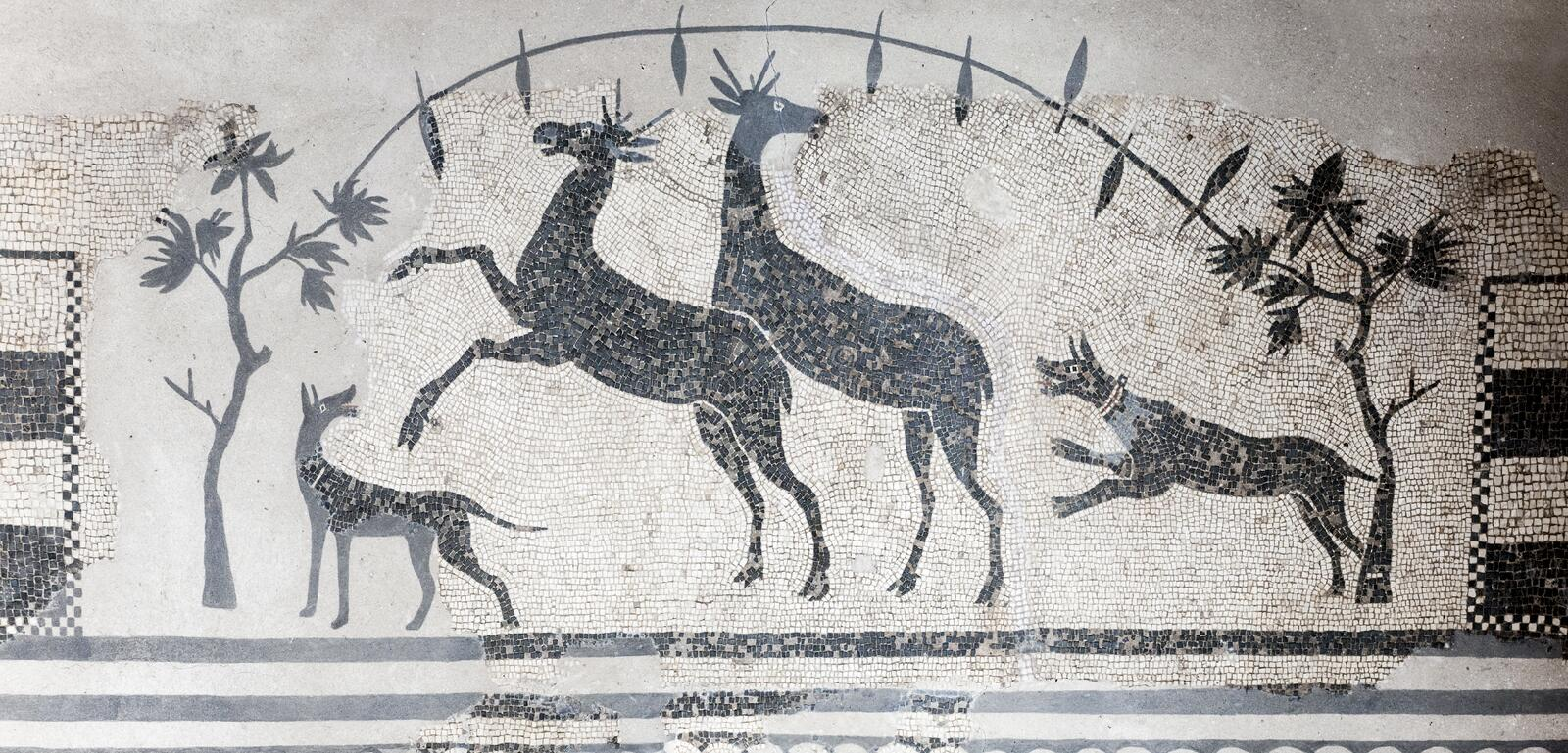 Hunting scene mosaic with dogs and deers. National Museum of Roman Art in Merida, Spain. Merida, Spain - September 4th, 2018: Hunting scene mosaic with dogs and stock photo