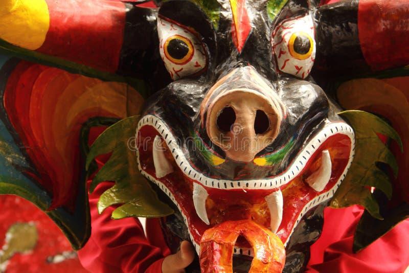 Diablos de Yare. Merida, Venezuela - April 6, 2017: Representation of diablo de yare by an artist wearing a mask at Venezuela de Antier Park stock photo