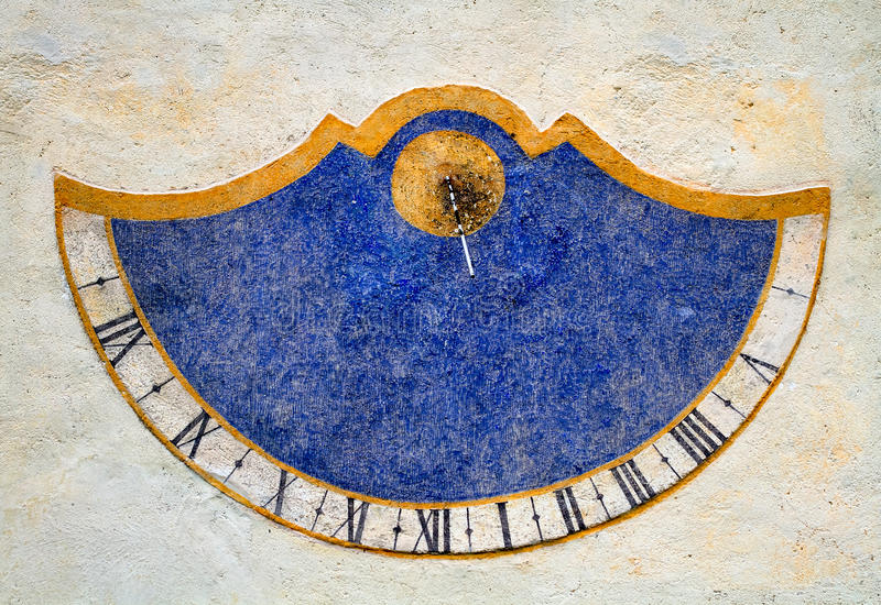 Meridiana, czasów sundials, Val Badia, dolomity, Sudtirol zdjęcia stock